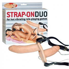 Double gode ceinture vibrant strap-on duo
