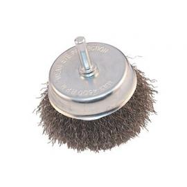 Brosse boisseau à fils ondulés acier sur tige 6 mm x 100mm